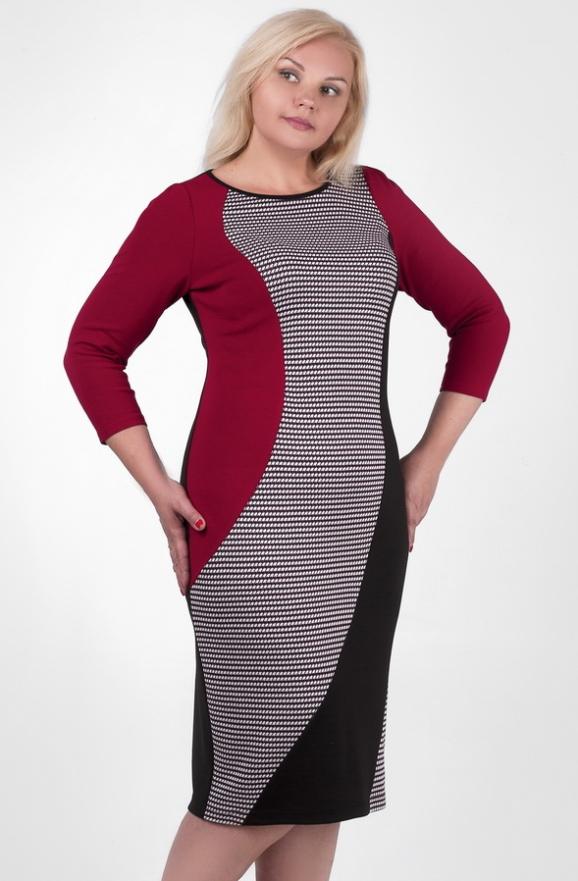 Платье футляр черного с бордовым цвета 2383.41d|интернет-магазин vvlen.com