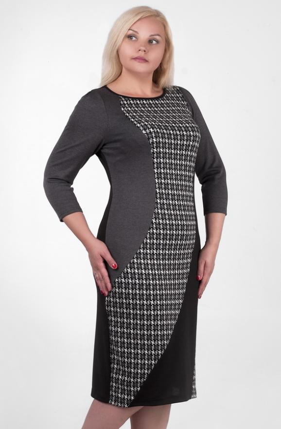 Платье футляр черного с серым цвета 2383.41d|интернет-магазин vvlen.com