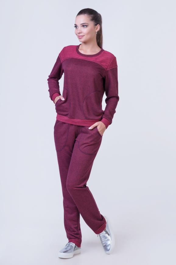 Спортивный костюм бордового цвета |интернет-магазин vvlen.com