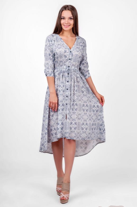 Повседневное платье с расклешённой юбкой белого с красным цвета|интернет-магазин vvlen.com