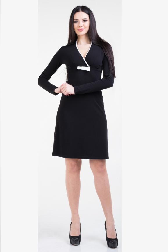 Повседневное платье футляр черного цвета -943.1|интернет-магазин vvlen.com