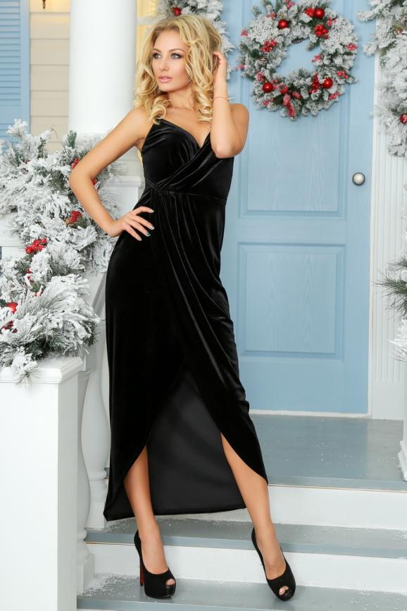 Вечернее платье комбинация черного цвета|интернет-магазин vvlen.com