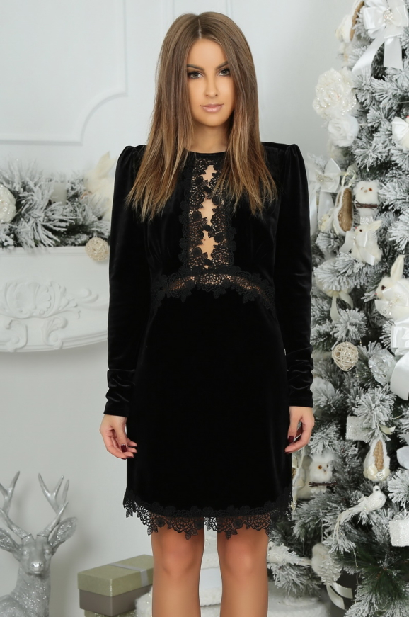 Коктейльное платье футляр черного цвета 2473.26 интернет-магазин vvlen.com