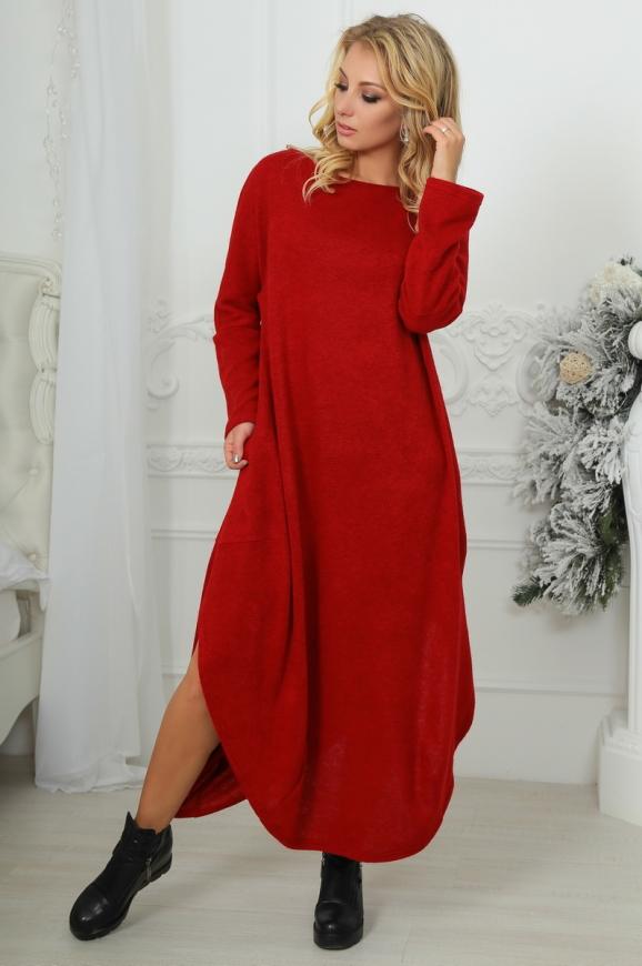 Платье оверсайз бордового цвета 2424-1.92|интернет-магазин vvlen.com