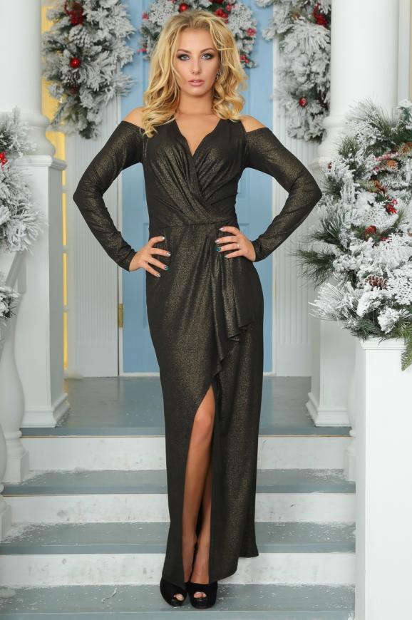 Вечернее платье с расклешённой юбкой черного цвета|интернет-магазин vvlen.com