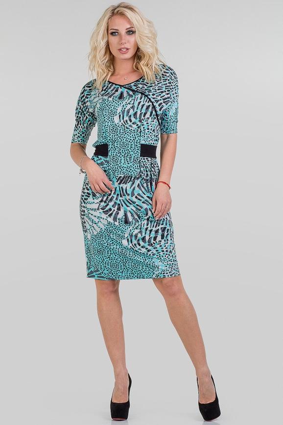 Летнее платье футляр бирюзовый с черным цвета|интернет-магазин vvlen.com