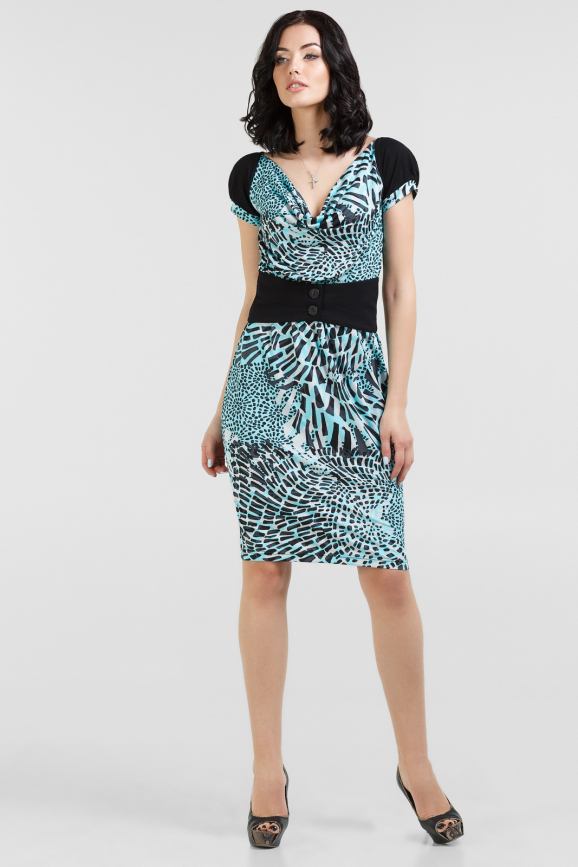 Летнее платье футляр бирюзовый с черным цвета 1288.33-4|интернет-магазин vvlen.com