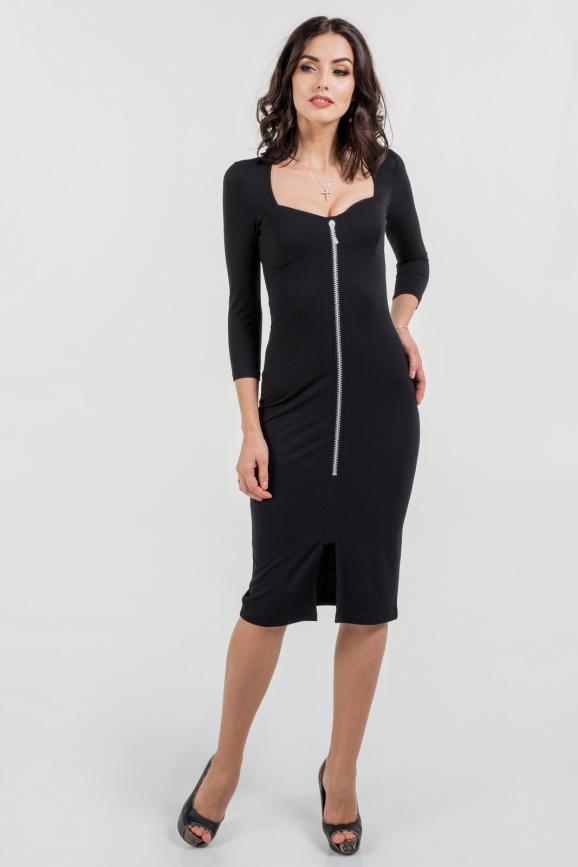 Офисное платье футляр черного цвета 1290.2|интернет-магазин vvlen.com