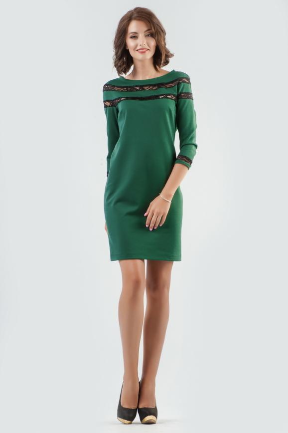 Коктейльное платье футляр темно-зеленого цвета 2580.47|интернет-магазин vvlen.com