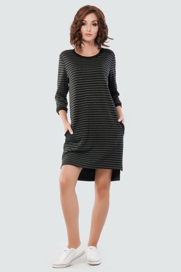 Спортивное платье  серого с черным цвета|интернет-магазин vvlen.com