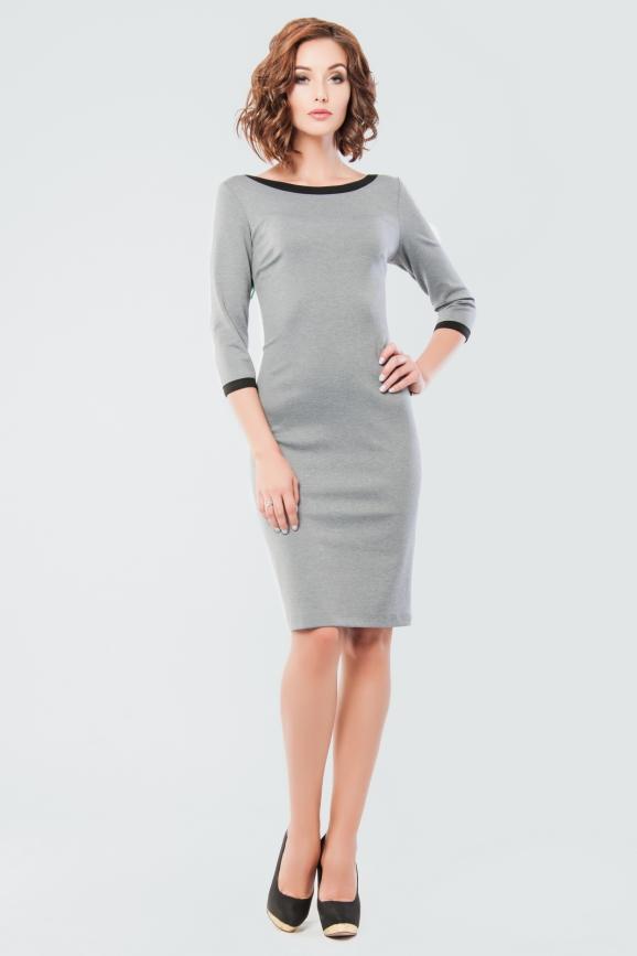 Офисное платье футляр серого цвета 2581.47|интернет-магазин vvlen.com