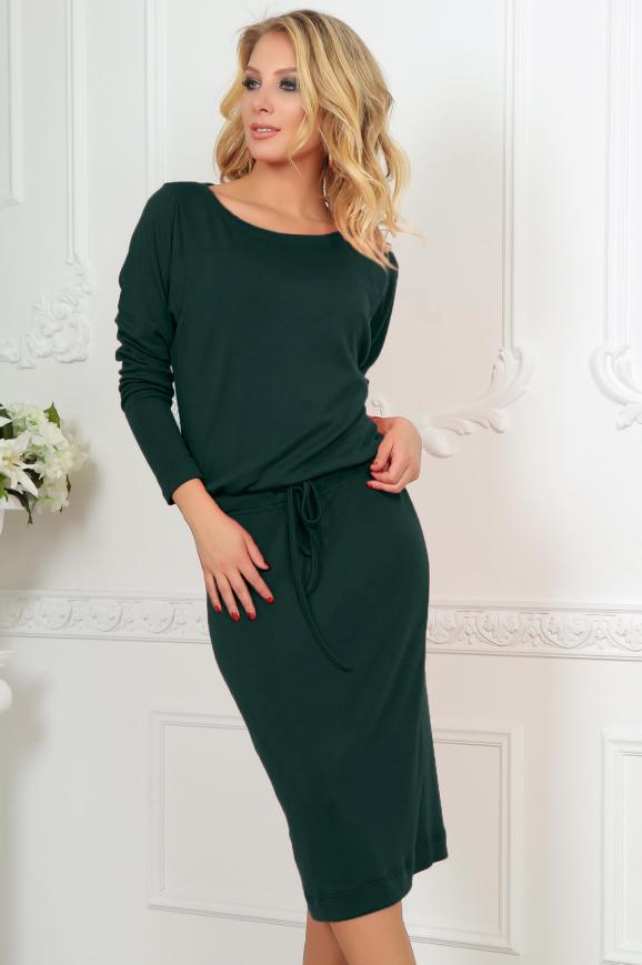 Повседневное платье футляр темно-зеленого цвета 2478.65|интернет-магазин vvlen.com