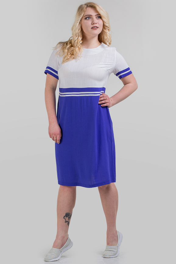 Летнее платье футляр электрика с белым цвета|интернет-магазин vvlen.com