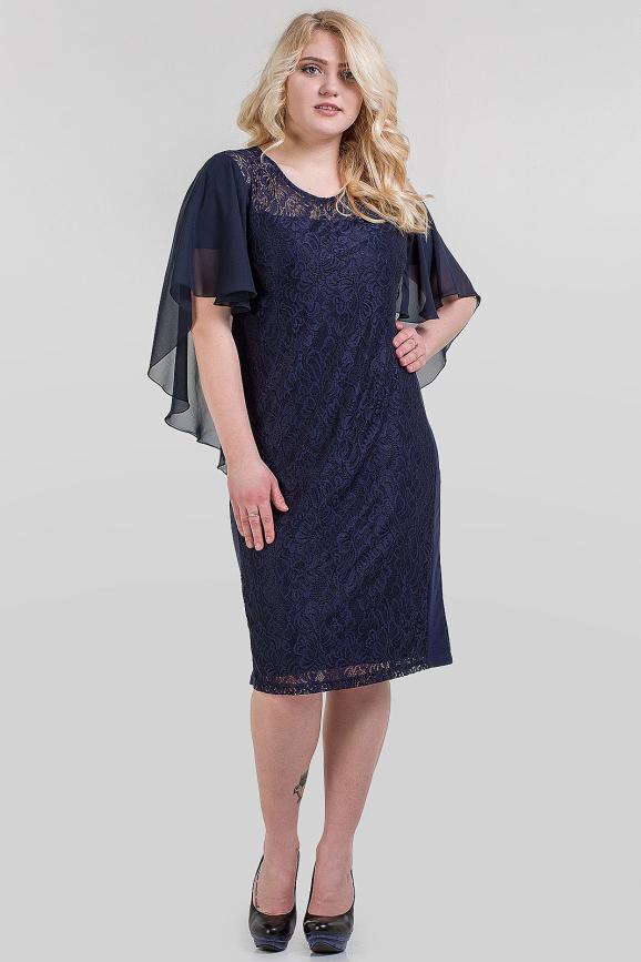 Летнее платье футляр синего цвета|интернет-магазин vvlen.com
