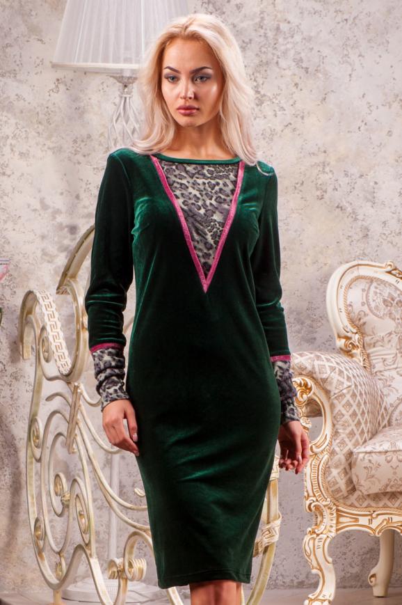 Коктейльное платье футляр зеленого цвета 2438.26|интернет-магазин vvlen.com