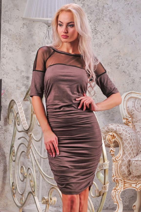Коктейльное платье футляр капучино цвета 2437-1.86|интернет-магазин vvlen.com