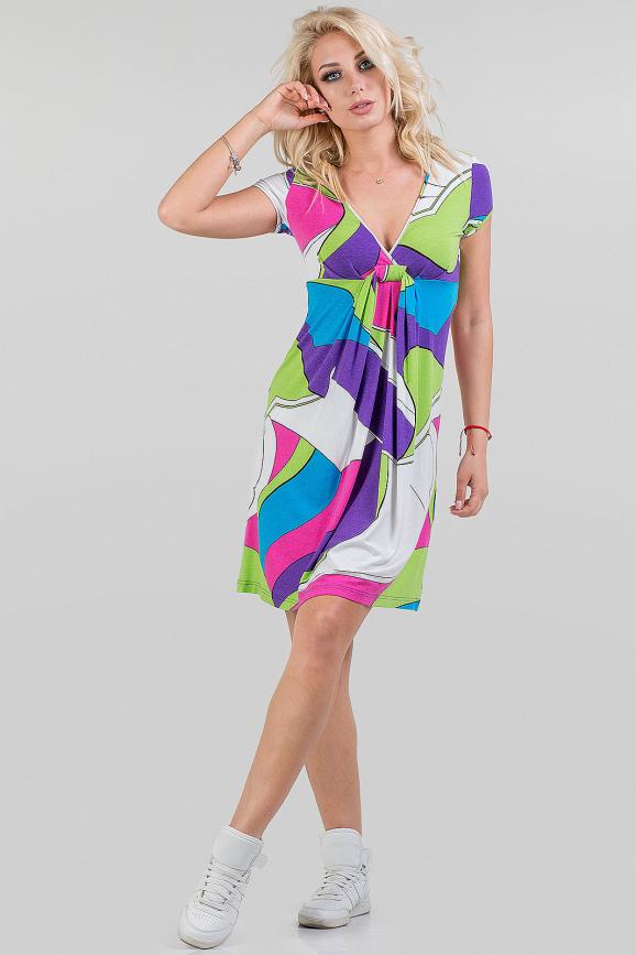 Летнее платье трапеция малинового с голубым цвета|интернет-магазин vvlen.com