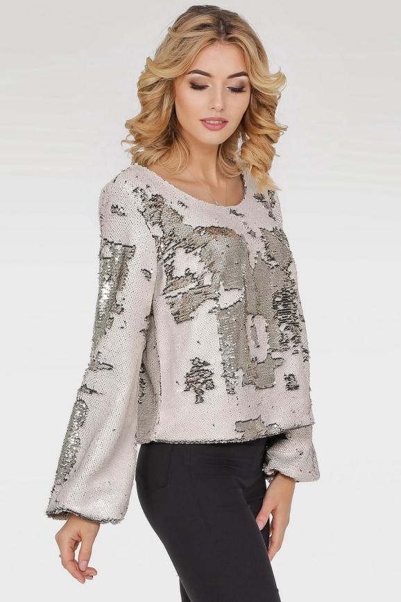Блуза  молочного с серебром цвета 412.113|интернет-магазин vvlen.com