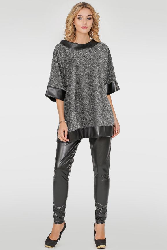 Костюм женский брючный серебристого с черным цвета 313.98|интернет-магазин vvlen.com