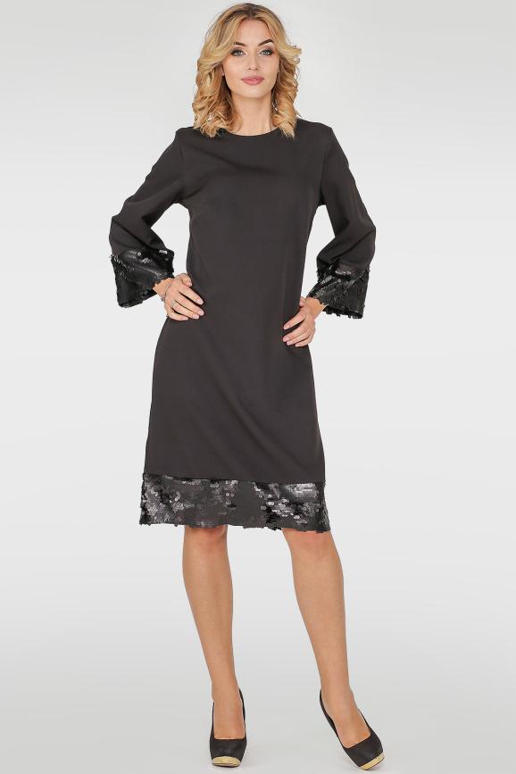 Коктейльное платье трапеция черного цвета 415.27|интернет-магазин vvlen.com