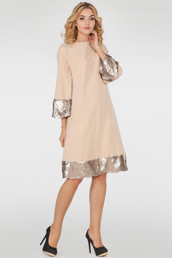 Коктейльное платье трапеция бежевого цвета 415.27|интернет-магазин vvlen.com