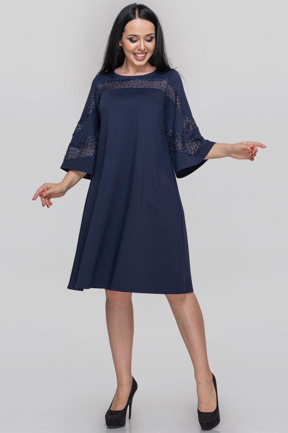 Платье трапеция синего цвета 2886.47|интернет-магазин vvlen.com
