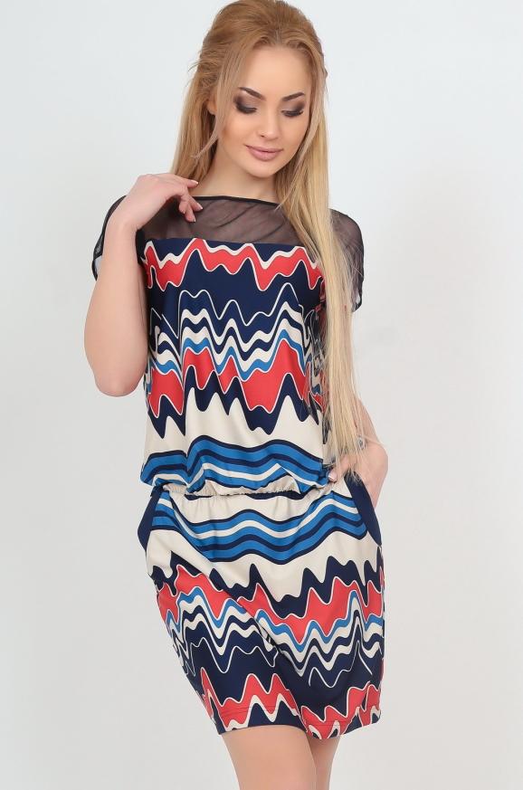 Летнее платье футляр синего с красным цвета 2037-1|интернет-магазин vvlen.com
