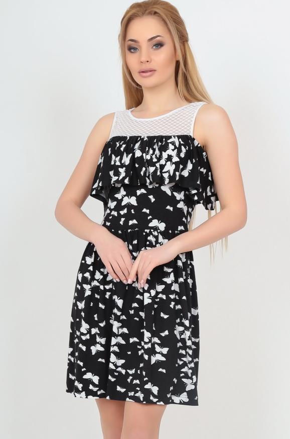 Летнее платье с пышной юбкой черного с белым цвета|интернет-магазин vvlen.com