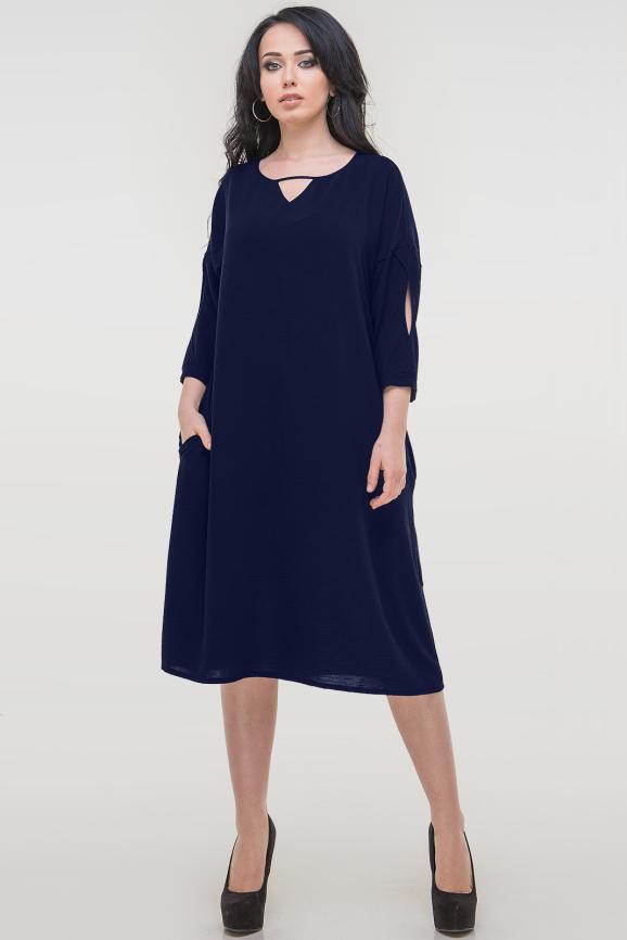 Платье оверсайз синего цвета 2808.102|интернет-магазин vvlen.com