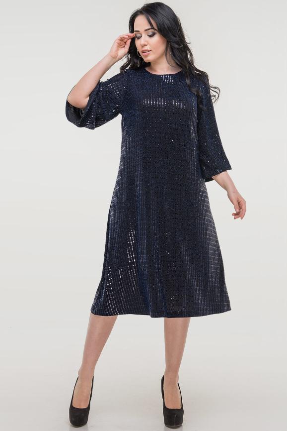 Платье трапеция темно-синего цвета |интернет-магазин vvlen.com