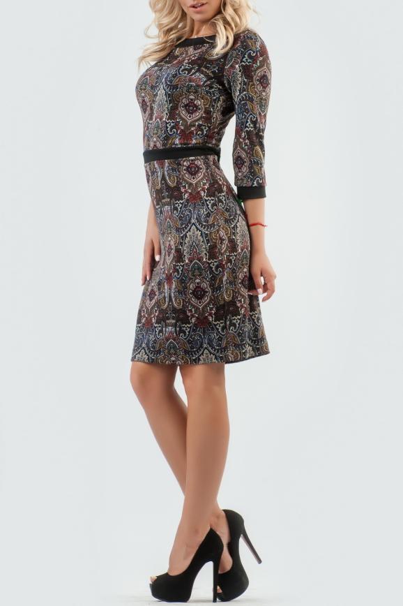 Офисное платье футляр черного с красным цвета 2087.55-1|интернет-магазин vvlen.com