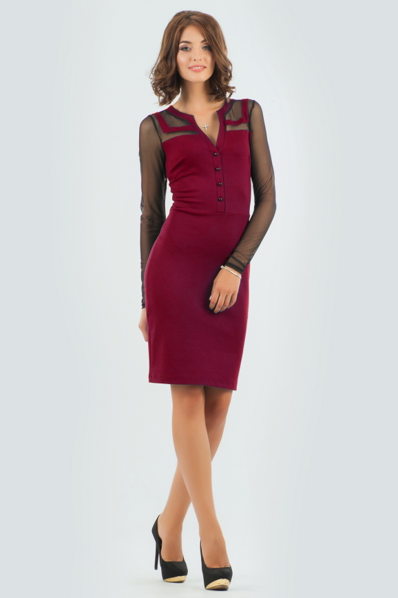 Офисное платье футляр вишневого цвета|интернет-магазин vvlen.com