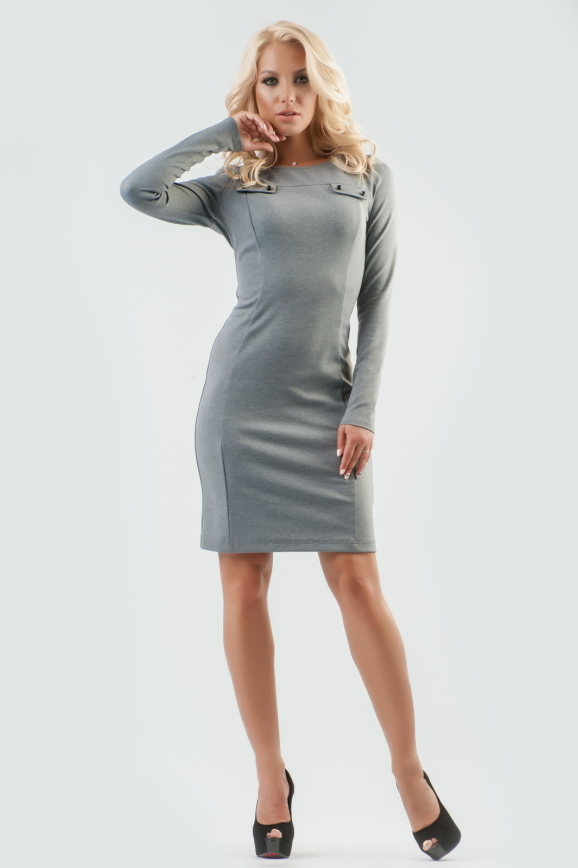 Офисное платье футляр серого цвета 1605-1.47|интернет-магазин vvlen.com