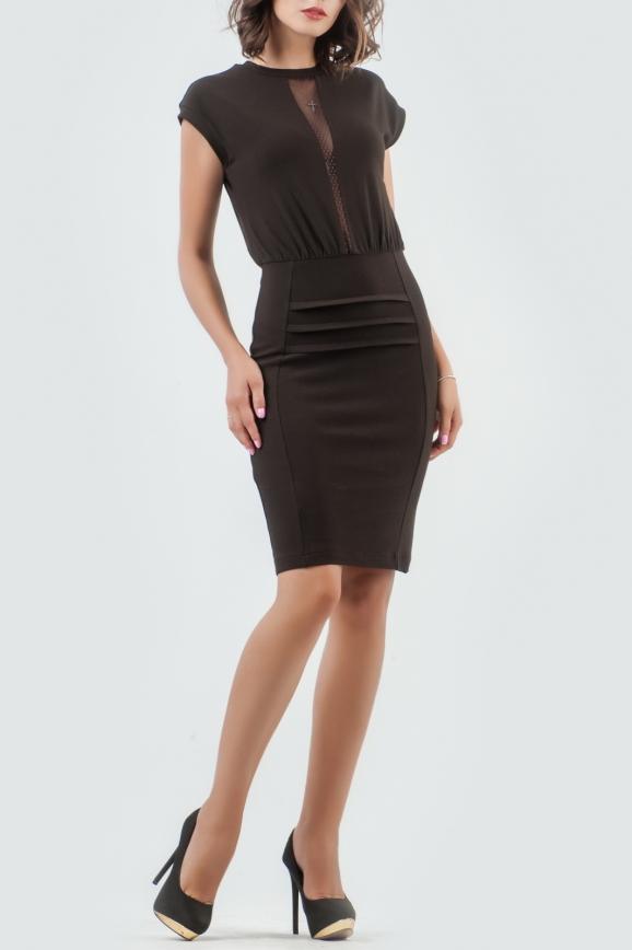 Повседневное платье футляр коричневого цвета 1602-1.14|интернет-магазин vvlen.com