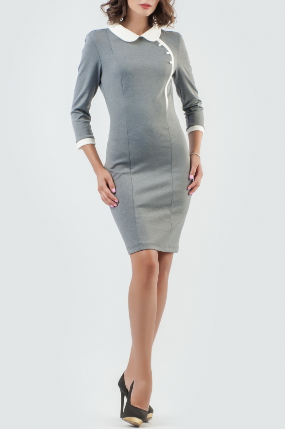 Офисное платье футляр серого цвета|интернет-магазин vvlen.com