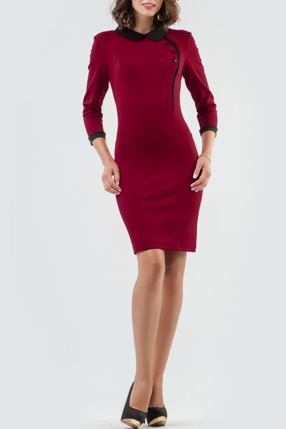 Офисное платье футляр вишневого цвета 1829-1.47|интернет-магазин vvlen.com