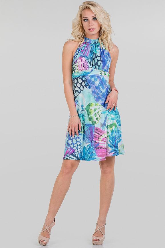 Летнее платье с открытой спиной сиреневого с голубым цвета|интернет-магазин vvlen.com