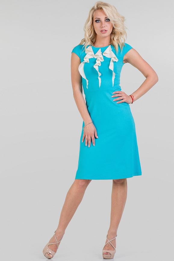 Летнее платье трапеция голубого цвета 1333.2|интернет-магазин vvlen.com