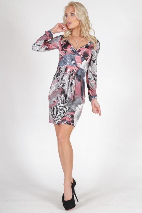 Повседневное платье с юбкой тюльпан серого с розовым цвета 1728.33|интернет-магазин vvlen.com