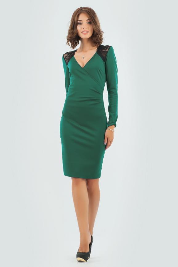 Коктейльное платье футляр темно-зеленого цвета|интернет-магазин vvlen.com