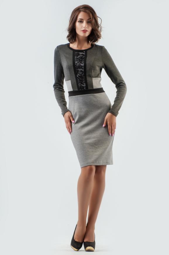 Офисное платье футляр серого цвета интернет-магазин vvlen.com