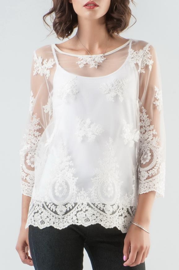 Блуза молочного цвета 2589.10|интернет-магазин vvlen.com