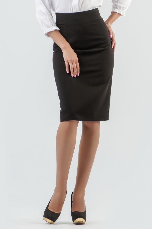Юбка-карандаш со шлицей сзади цвет черный 1064.23|интернет-магазин vvlen.com