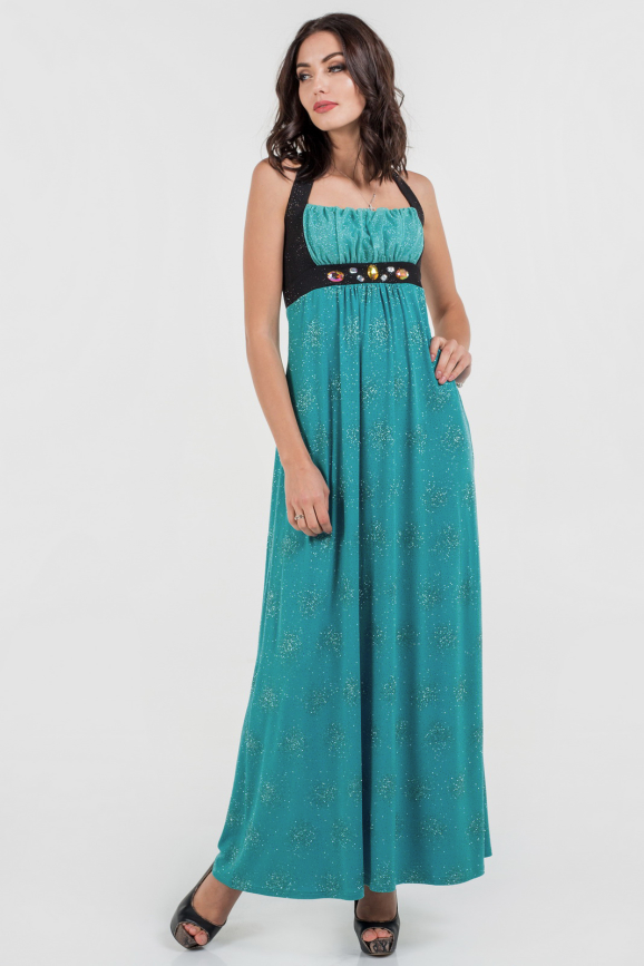 Вечернее платье с расклешённой юбкой бирюзового цвета 735.6|интернет-магазин vvlen.com