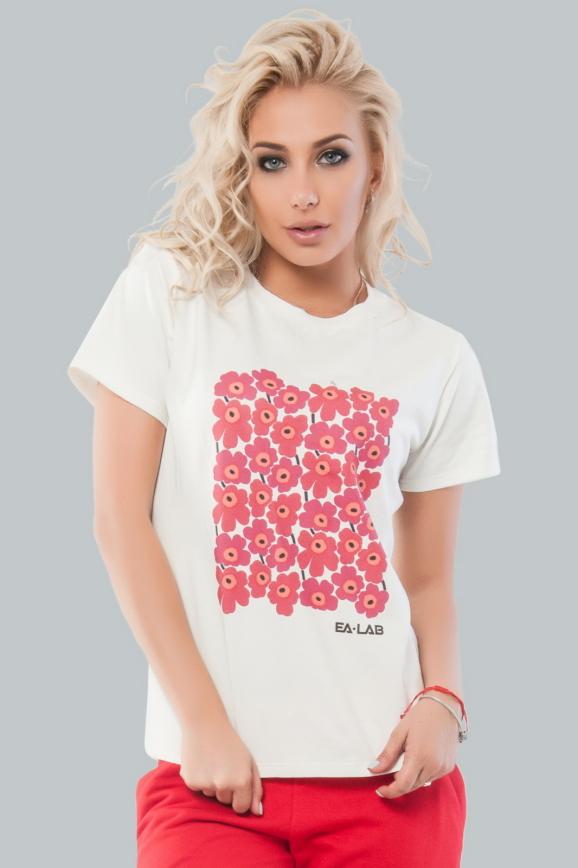 Женская футболка молочного цвета с принтом в цветочек|интернет-магазин vvlen.com
