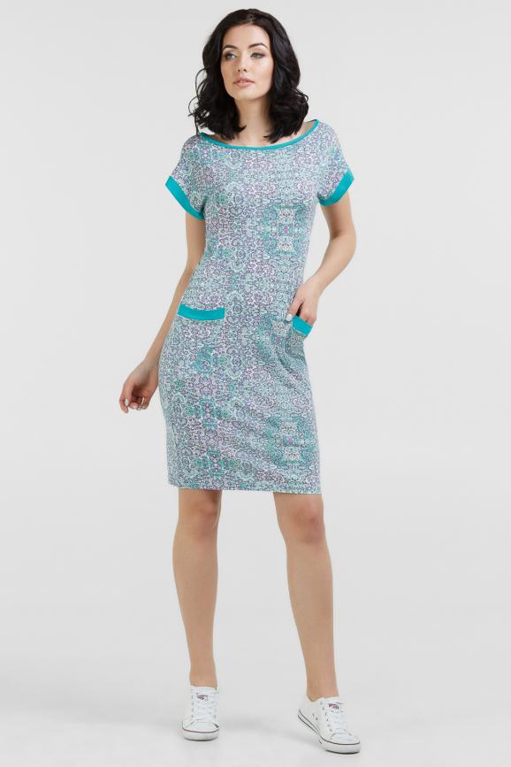 Летнее платье футляр мятный с сиреневым цвета|интернет-магазин vvlen.com