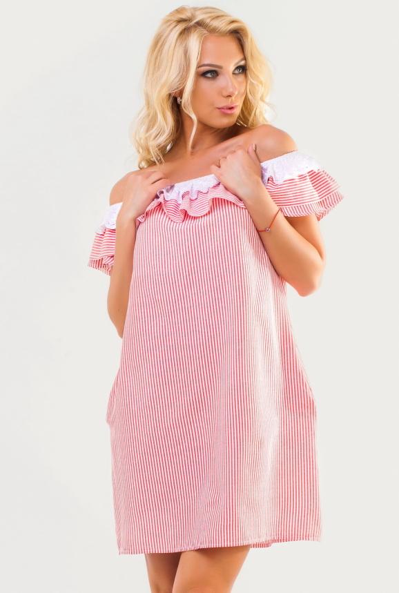 Летнее платье трапеция красной полоски цвета интернет-магазин vvlen.com