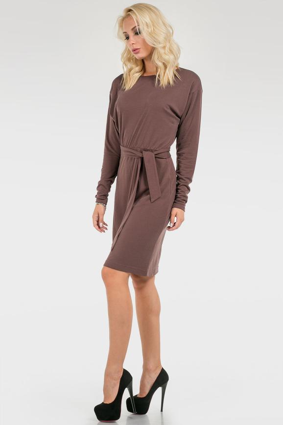 Офисное платье футляр коричневого цвета 2098.56 интернет-магазин vvlen.com