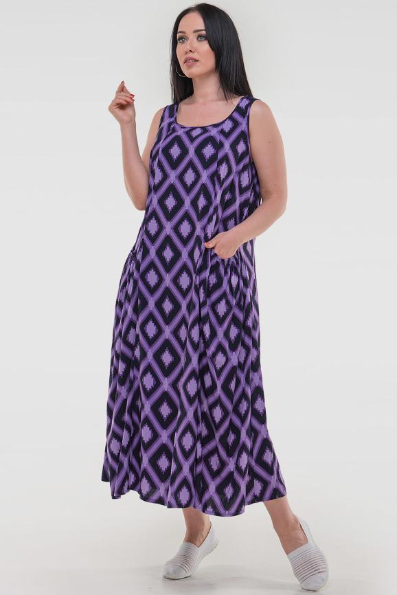 Летнее платье трапеция сиреневого с черным цвета 2541.84 интернет-магазин vvlen.com
