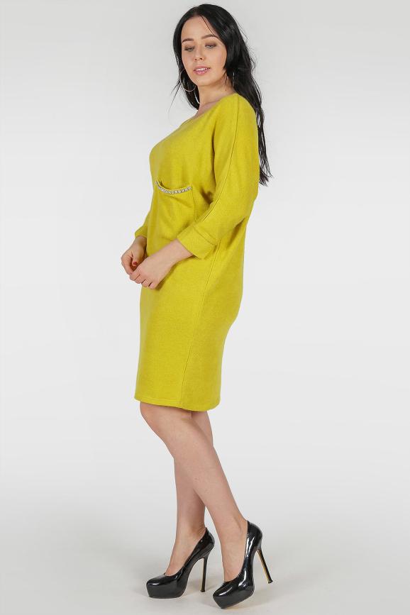 Платье туника горчичного цвета 410 |интернет-магазин vvlen.com